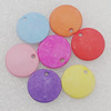 Imitation Wood Acrylic Pendant, Mix Color, Flat Round 14mm Hole:2mm, Sold by Bag