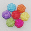 Imitation Wood Acrylic Beads, Mix Color, Flower 12mm Hole:2mm, Sold by Bag