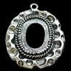 Zinc Alloy Pendant Settings, Lead-free, Outside diameter:30x38mm, Interior diameter:15x20mm, Sold by Bag