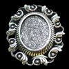 Zinc Alloy Cabochons Settings, Lead-free, Outside diameter:36x47mm, Interior diameter:18x25mm, Sold by Bag