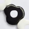 Gemstone beads, black & white stone, flower, 28x30x6mm, Sold per 13-inch Strand