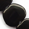 Gemstone beads, black & white stone, apple, 18x20x5mm, Sold per 14-inch Strand