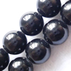Gemstone beads, black amber, round, 12mm, Sold per 16-inch Strand