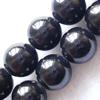 Gemstone beads, black amber, round, 4mm, Sold per 16-inch Strand