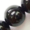 Gemstone beads, black jade, round, 10mm, Sold per 16-inch Strand