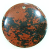 Gemstone pendant, black obsidian, coin, 45x45x6mm, Sold by PC