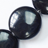 Gemstone beads, black stone, coin, 8mm, Sold per 16-inch Strand