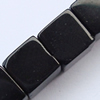 Gemstone beads, black stone, cube, 10x10mm, Sold per 16-inch Strand