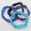 Glass Crystal Bracelet, mix color, Length:About 7.8 Inch, Sold by Group