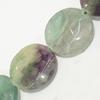 Gemstone beads, fluorite, twist coin, 20mm, Sold per 16-inch Strand