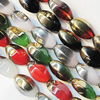 Electroplate Glass Beads, mix colors, 13x20mm, Hole Approx:1mm, Sold per 16-inch Strand