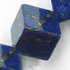 Gemstone beads, natural lapis(dyed), corner drilled cube, 10x10mm, Sold by KG