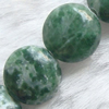 Gemstone beads, qinghai jade, coin, 12x12mm, Sold per 16-inch Strand