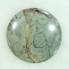 Gemstone pendant, picasso jasper, coin, 45x45x6mm, Sold by PC
