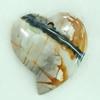 Gemstone pendant, picasso jasper, heart, 43x50x7mm, Sold by PC