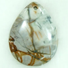 Gemstone pendant, picasso jasper, flat teardorp, 40x50x6mm, Sold by PC