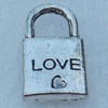 Pendant/Charm, Fashion Zinc Alloy Jewelry Findings, Lead-free, Lock 20x11mm, Sold by Bag