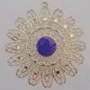 Iron Enamel Pendant. Fashion Jewelry findings. Lead-free. Flower 64mm Sold by Bag