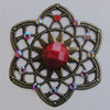 Iron Connector With Resin Beads. Fashion jewelry findings. Lead-free. Flower 44mm Sold by Bag