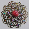 Iron Connector With Resin Beads. Fashion jewelry findings. Lead-free. Flower 46mmSold by Bag