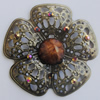 Iron Connector With Resin Beads. Fashion jewelry findings. Lead-free. Flower 47mm Sold by Bag
