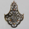 Iron Pendant With Crystal Beads. Fashion Jewelry findings. Lead-free. 40x52mm Sold by Bag