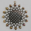 Iron Pendant With Crystal Beads. Fashion Jewelry findings. Lead-free. 48mm Sold by Bag