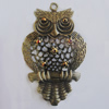 Iron Pendant With Crystal Beads. Fashion Jewelry findings. Lead-free. Animal 42x66mm Sold by Bag