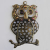 Iron Pendant With Crystal Beads. Fashion Jewelry findings. Lead-free. Animal 44x66mm Sold by Bag
