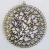 Iron Pendant With Crystal Beads. Fashion Jewelry findings. Lead-free. 56mm Sold by Bag