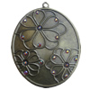 Iron Pendant With Crystal Beads. Fashion Jewelry findings. Lead-free. 60x75mm Sold by Bag