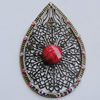 Iron Pendant With Resin Beads. Fashion Jewelry findings. Lead-free. 45x67mm Sold by Bag