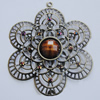 Iron Pendant With Resin Beads. Fashion Jewelry findings. Lead-free. Flower 65mm Sold by Bag