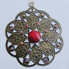 Iron Pendant With Resin Beads. Fashion Jewelry findings. Lead-free. Flower 54x63mm Sold by Bag