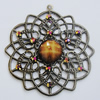 Iron Pendant With Resin Beads. Fashion Jewelry findings. Lead-free. Flower 44mm Sold by Bag