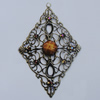 Iron Pendant With Resin Beads. Fashion Jewelry findings. Lead-free. 48x77mm Sold by Bag