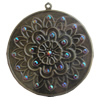 Iron Pendant With Crystal Beads. Fashion Jewelry findings. Lead-free. 58mm Sold by Bag
