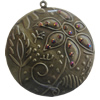Iron Pendant With Crystal Beads. Fashion Jewelry findings. Lead-free. 59mm Sold by Bag