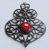 Iron Pendant With Resin Beads. Fashion Jewelry findings. Lead-free. 73x60mm Sold by Bag