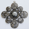 Iron Pendant With Resin Beads. Fashion Jewelry findings. Lead-free. 70x65mm Sold by Bag