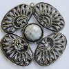 Iron Pendant With Resin Beads. Fashion Jewelry findings. Lead-free. 66mm Sold by Bag