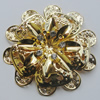 Iron Cabochons With Crystal Beads. Fashion jewelry findings. Lead-free. Flower 58mm Sold by Bag