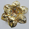 Iron Cabochons With Crystal Beads. Fashion jewelry findings. Lead-free. Flower 54mm Sold by Bag