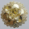 Iron Cabochons With Crystal Beads. Fashion jewelry findings. Lead-free. Flower 65mm Sold by Bag