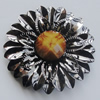 Iron Cabochons With Resin Beads. Fashion Jewelry Findings. Lead-free. Flower 36mm. Sold by Bag