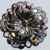 Iron Cabochons With Crystal Beads. Fashion Jewelry Findings. Lead-free. Flower 47mm. Sold by Bag
