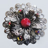 Iron Cabochons With Resin Beads. Fashion Jewelry Findings. Lead-free. Flower 52mm. Sold by Bag