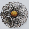 Iron Cabochons With Resin Beads. Fashion Jewelry Findings. Lead-free. Flower 50mm. Sold by Bag