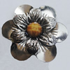 Iron Cabochons With Resin Beads. Fashion Jewelry Findings. Lead-free. Flower 48mm. Sold by Bag