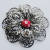 Iron Cabochons With Resin Beads. Fashion Jewelry Findings. Lead-free. Flower 60mm. Sold by Bag